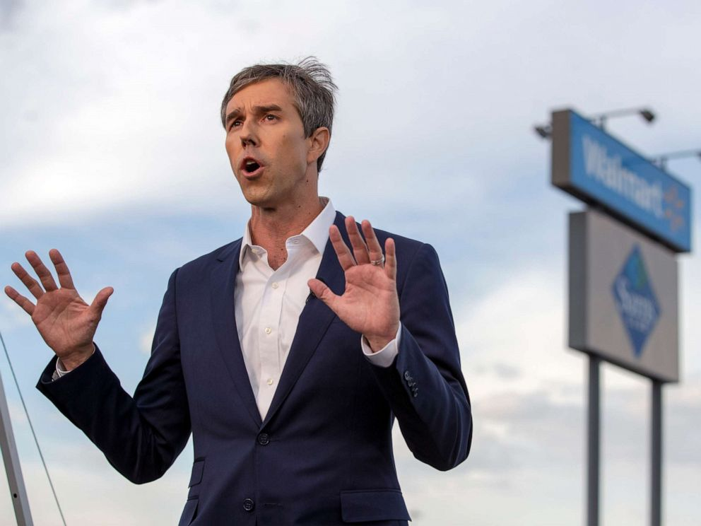 PHOTO: Presidential candidate Beto ORourke speaks with the media outside the Walmart store in the aftermath of a mass shooting in El Paso, Texas, Aug. 4, 2019.