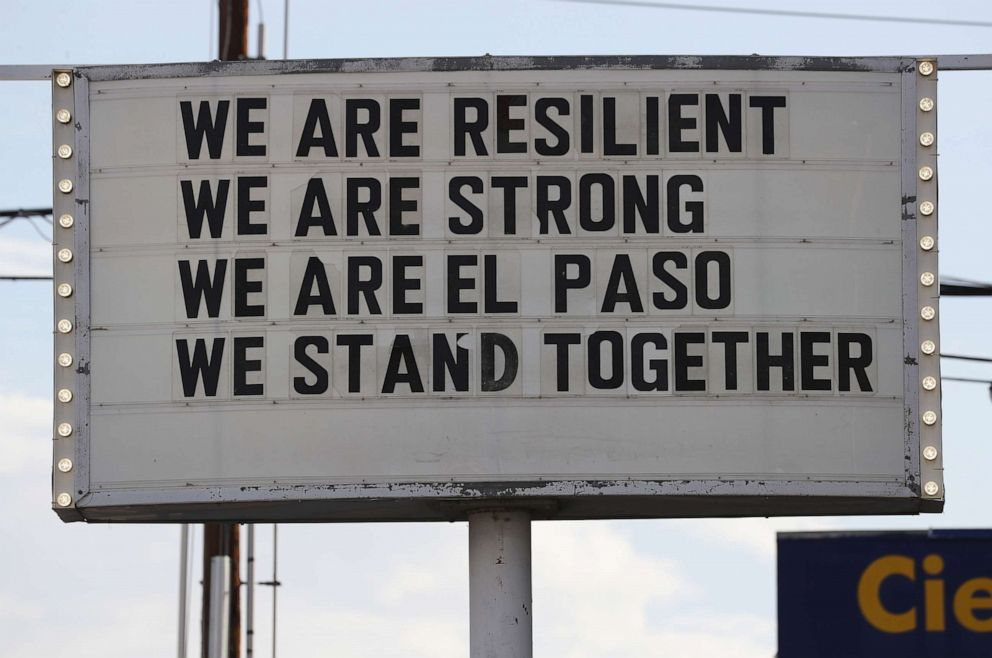 PHOTO: A sign is posted near the scene of a mass shooting at a Walmart which left at least 20 people dead, Aug. 4, 2019 in El Paso, Texas.