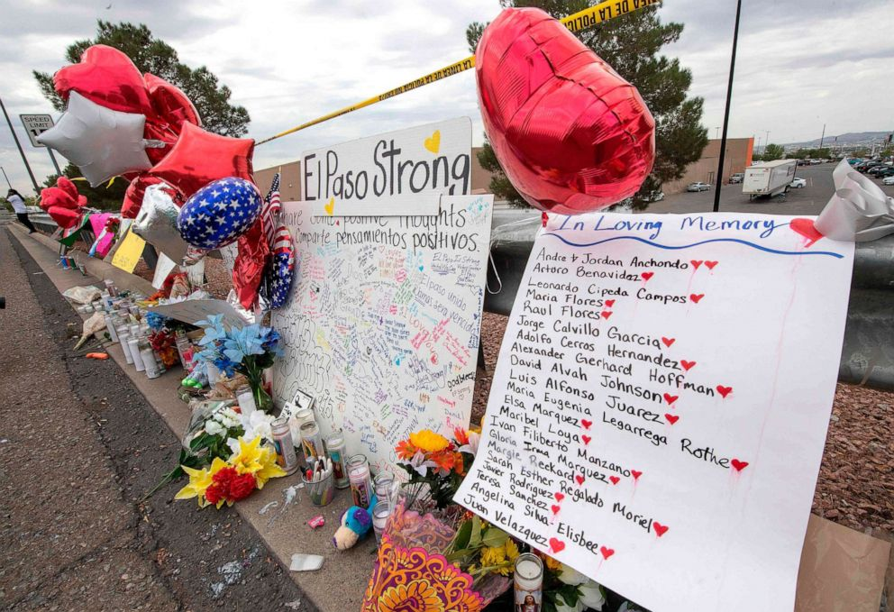 PHOTO: The names of the shooting victims adorn a makeshift memorial at the Cielo Vista Mall Walmart in El Paso, Texas, on August 6, 2019.