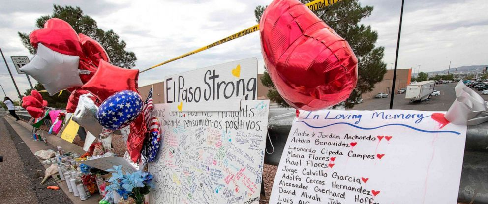 PHOTO: The names of the shooting victims adorn a makeshift memorial at the Cielo Vista Mall Walmart in El Paso, Texas, Aug. 6, 2019.