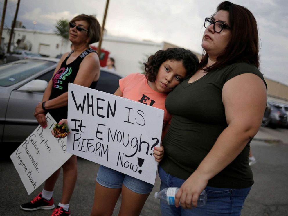 PHOTO: People take part in a rally against hate the day after a mass shooting at a Walmart store, in El Paso, Texas, Aug. 4, 2019.