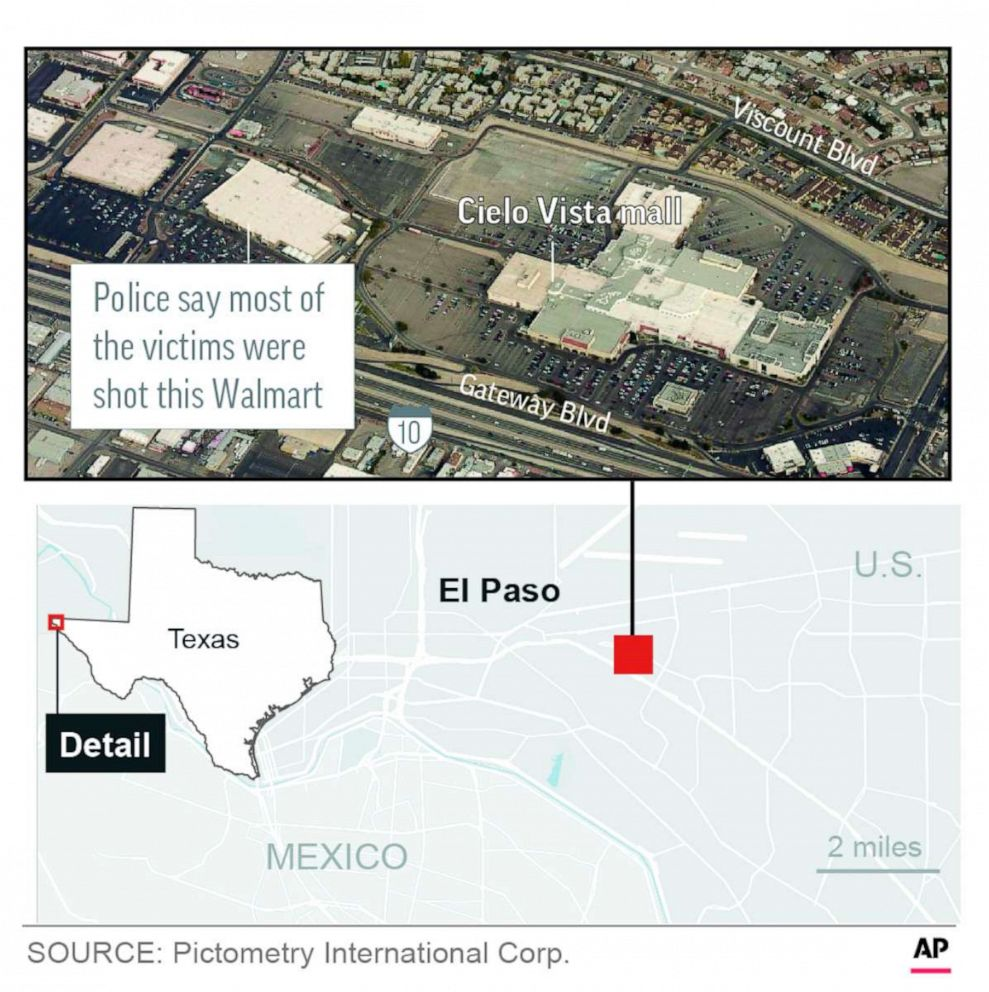 PHOTO: A graphic released by the Associated Press shows the location of a mall shooting in El Paso, Texas, Aug. 3, 2019.