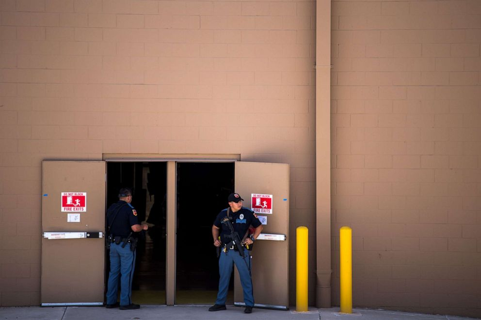 PHOTO: Law enforcement agencies cover the exits of a Wal-Mart where a shooting occurred near Cielo Vista Mall in El Paso, Texas, Aug. 3, 2019.