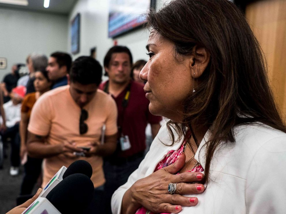 PHOTO: Rep. Veronica Escobar answers questions after a press briefing, following a mass fatal shooting, at the El Paso Regional Communications Center in El Paso, Texas, Aug. 3, 2019.