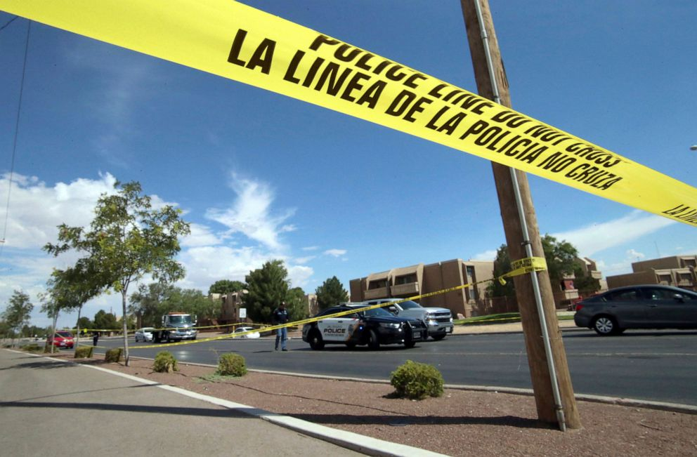 PHOTO: Police tape strung across an intersection behind the scene of a shooting at a shopping mall in El Paso, Texas, Aug. 3, 2019.