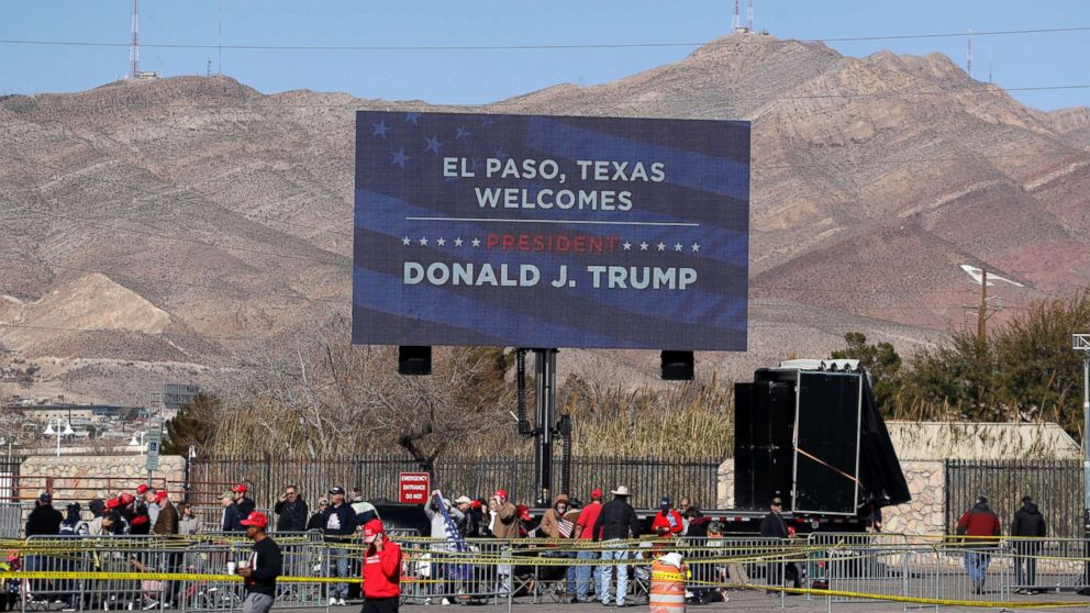Ticket holders begin lining up outside the El Paso County Coliseum for a President Donald Trump campaign rally, Feb. 11, 2019, in El Paso, Texas.