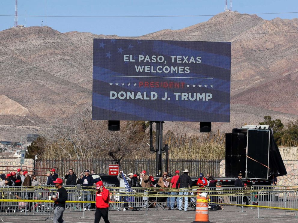 PHOTO: Ticket holders begin lining up outside the El Paso County Coliseum for a President Donald Trump campaign rally, Feb. 11, 2019, in El Paso, Texas.
