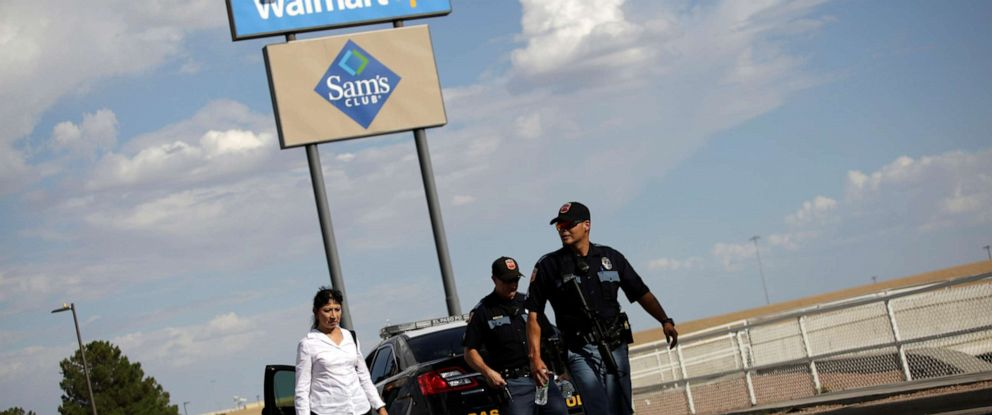 PHOTO: Police are seen after a mass shooting at a Walmart in El Paso, Texas, on Saturday, Aug. 3, 2019.