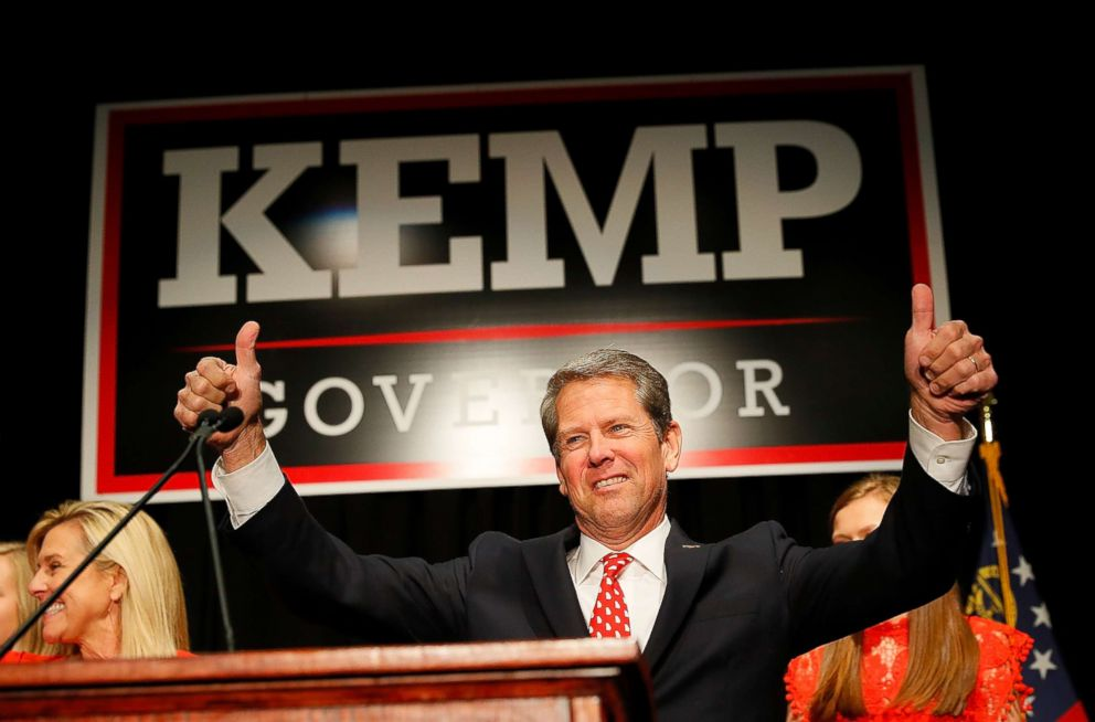 PHOTO: Republican gubernatorial candidate Brian Kemp attends the Election Night event at the Classic Center on Nov. 6, 2018 in Athens, Ga.