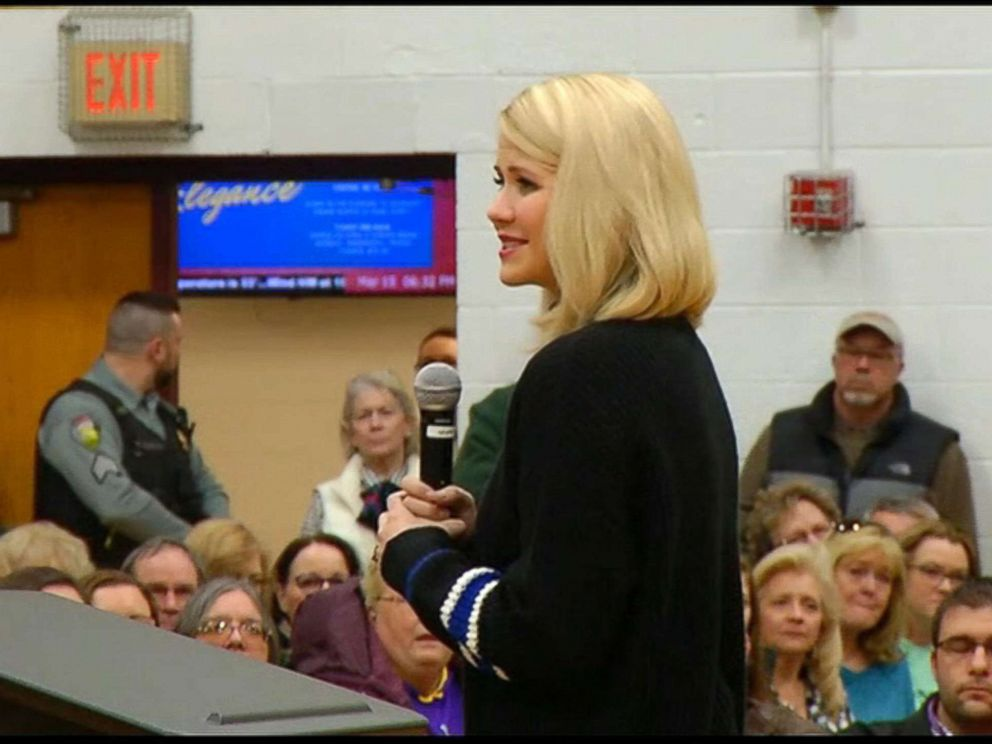 PHOTO: Elizabeth Smart speaks at a Town Hall at Barron High School, March 15, 2019, in Barron, Wisc.