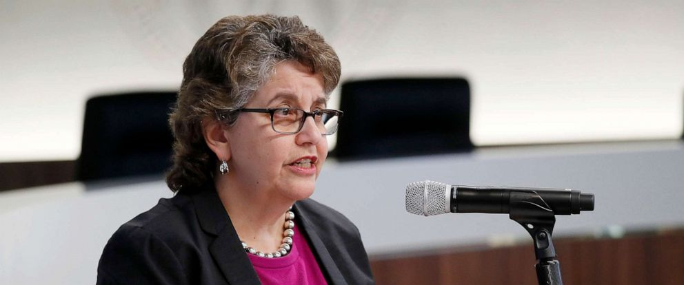PHOTO: Ellen L. Weintraub, Chair, U.S. Federal Election Commission, speaks at a panel discussion on disinformation and the 2020 campaign co-hosted by PEN America at the FEC in Washington, D.C., Sept. 17, 2019.