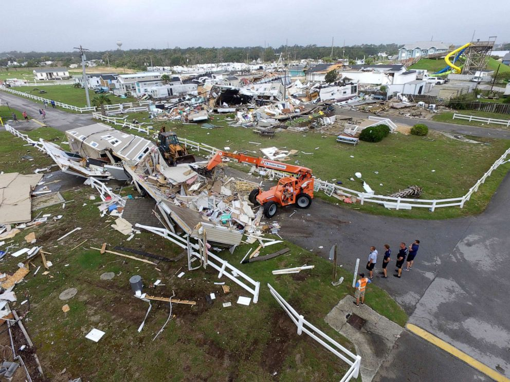PHOTO: Emerald Isle town employees work to clear the road after a tornado hit Emerald Isle N.C. as Hurricane Dorian moved up the east coast, Sept. 5, 2019.