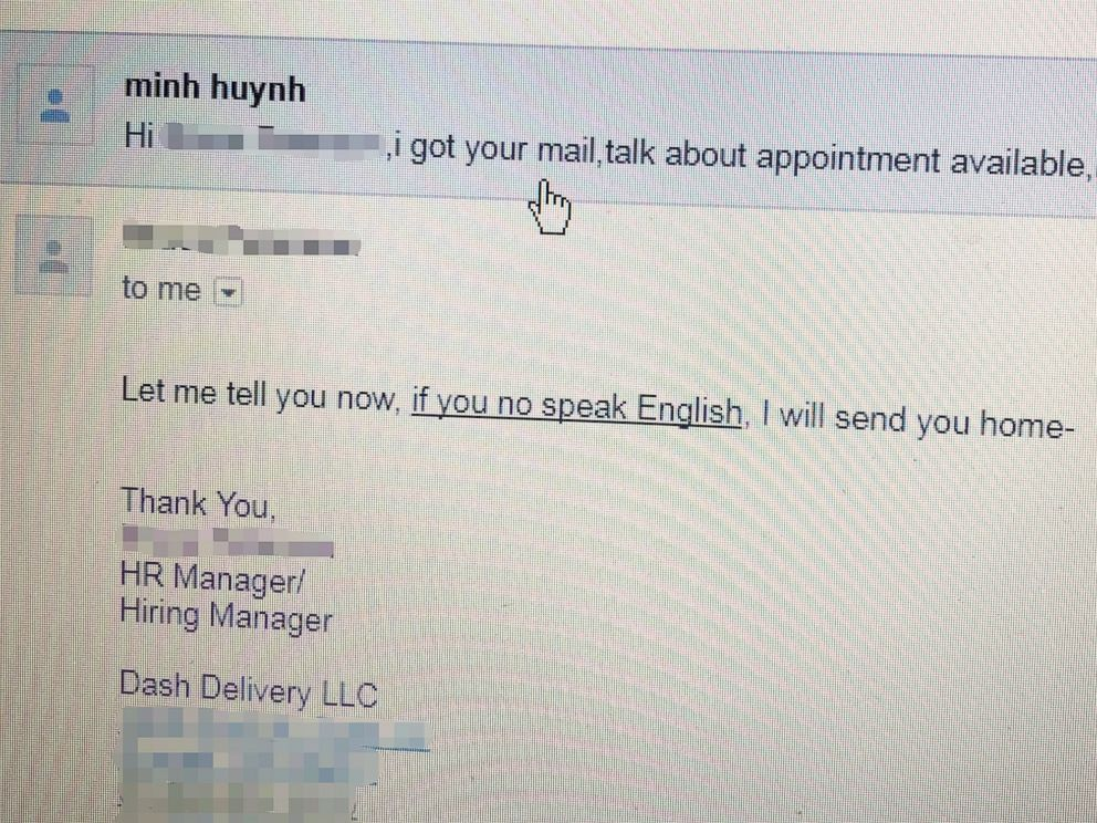 PHOTO: Emily Huynh saw this email that her father received from a hiring manager.