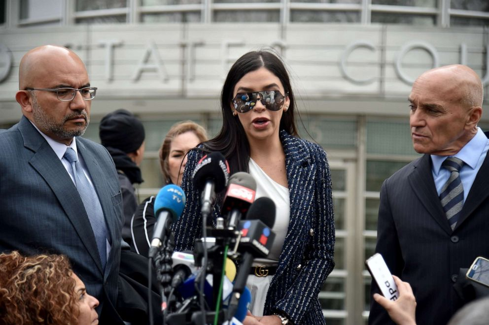 PHOTO: Emma Coronel Aispuro, wife of the founder of the former Guadalajara Cartel Joaquan El Chapo Guzman, speaks outside federal court in New York, April 17, 2018.