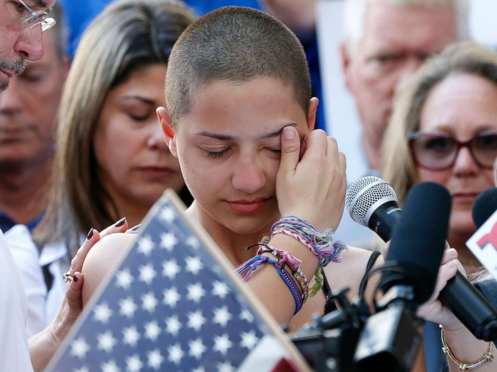 PHOTO: Marjory Stoneman Douglas High School student Emma Gonzalez speaks at a rally for gun control at the Broward County Federal Courthouse in Fort Lauderdale, Florida, Feb. 17, 2018.