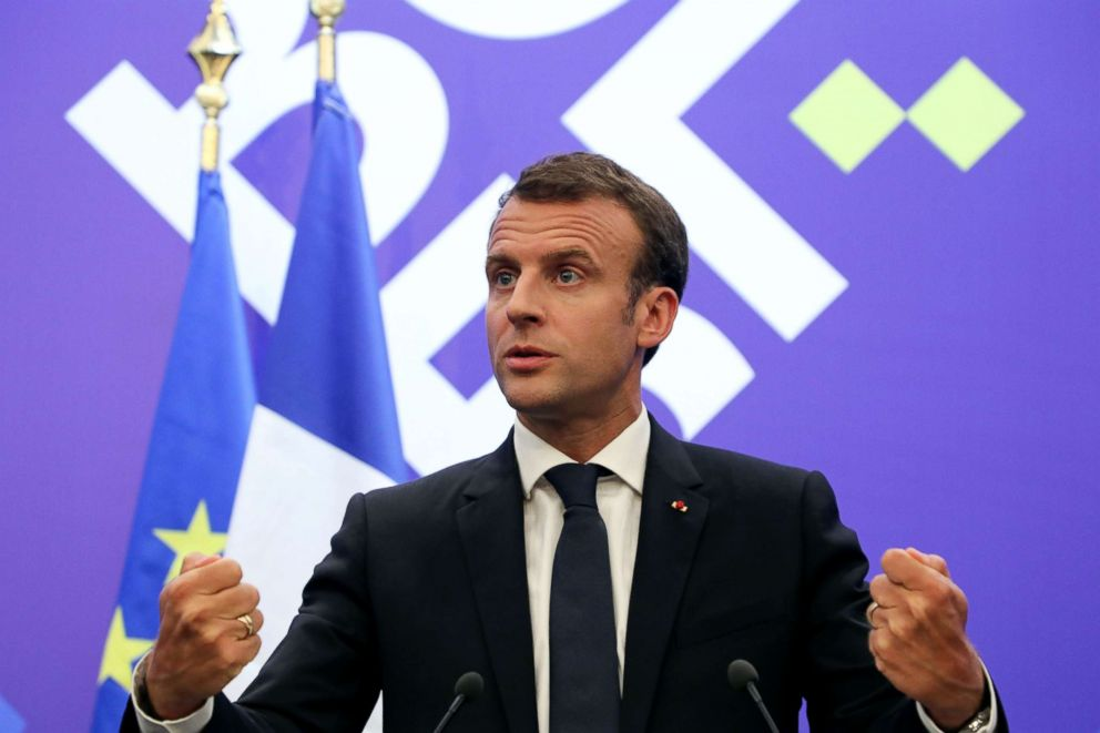 PHOTO: French President Emmanuel Macron speaks during a joint press conference during an EU-Western Balkans Summit in Sofia, Bulgaria, May 17, 2018.