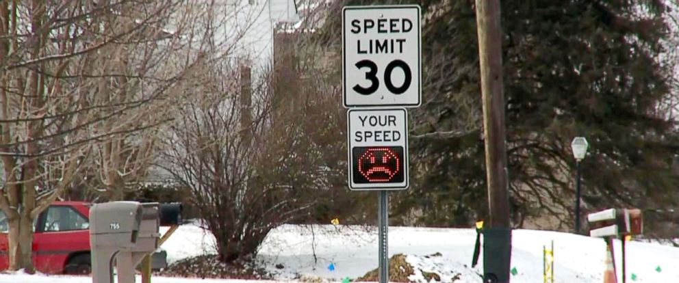 "PHOTO: The Danville Metropolitan Police Department announced a new ""Digital Driver Feedback"" sign on Feb. 6, 2018.The sign will post the driver's speed followed by either a smiling or a frowning emoji."