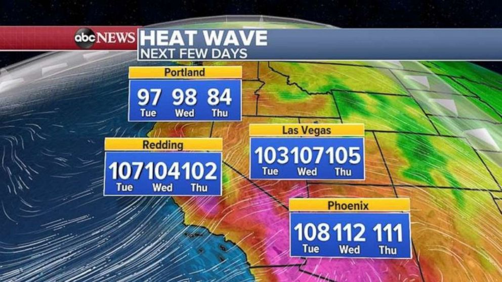 PHOTO: The hottest days of the week in the West will be Tuesday and Wednesday.