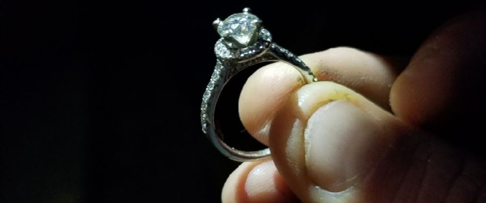 PHOTO: It took over 40 hours for a group of people in Alamo, CA to find an engagement ring that was accidently flushed down the toilet.
