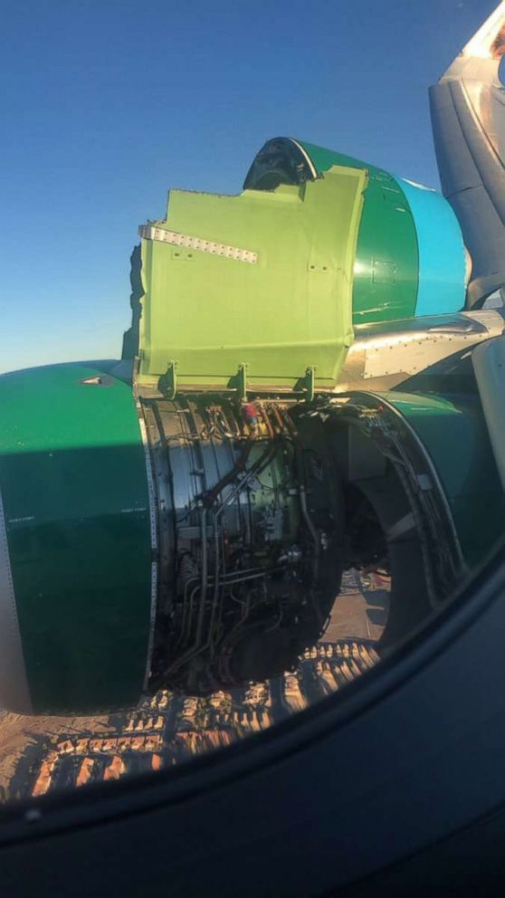 PHOTO: A Frontier Airlines plane bound for Tampa was forced to return to Las Vegas after the engine cover came off the aircraft during the flight, Nov. 30, 2018.