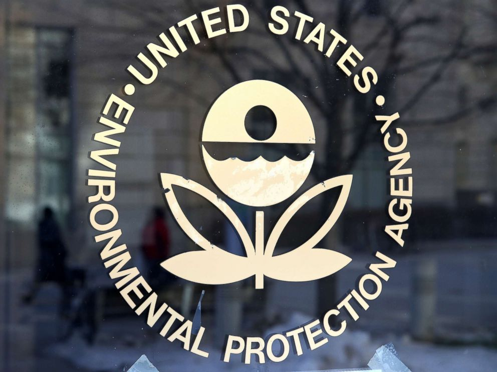 PHOTO: The U.S. Environmental Protection Agencys (EPA) logo is displayed on a door at its headquarters, March 16, 2017, in Washington, DC.