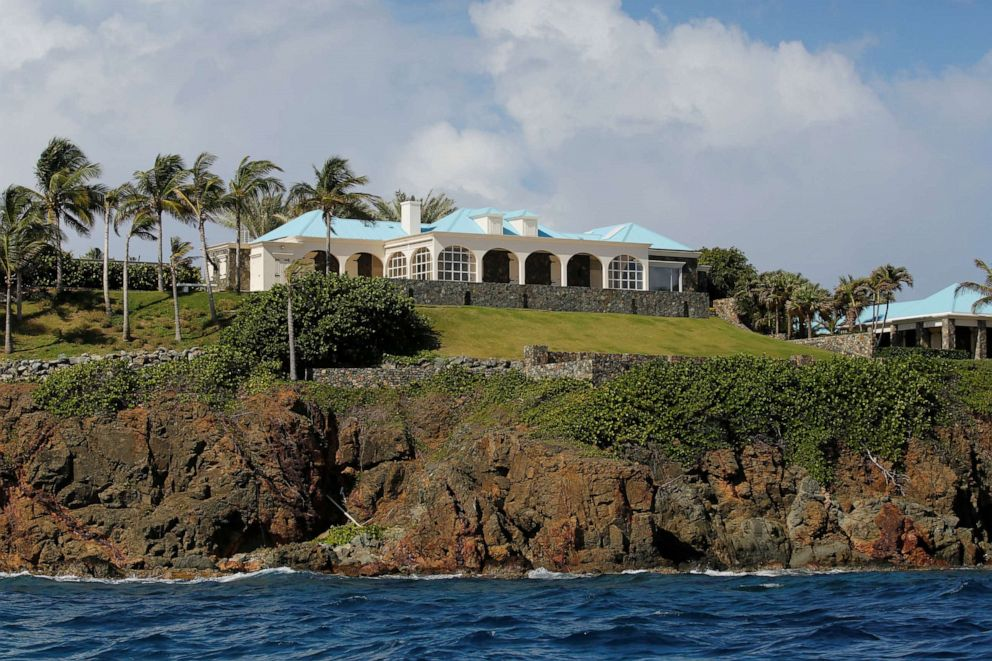 PHOTO: Houses are seen at Little St. James Island, one of the properties of financier Jeffrey Epstein, near Charlotte Amalie, U.S. Virgin Islands August 17, 2019.
