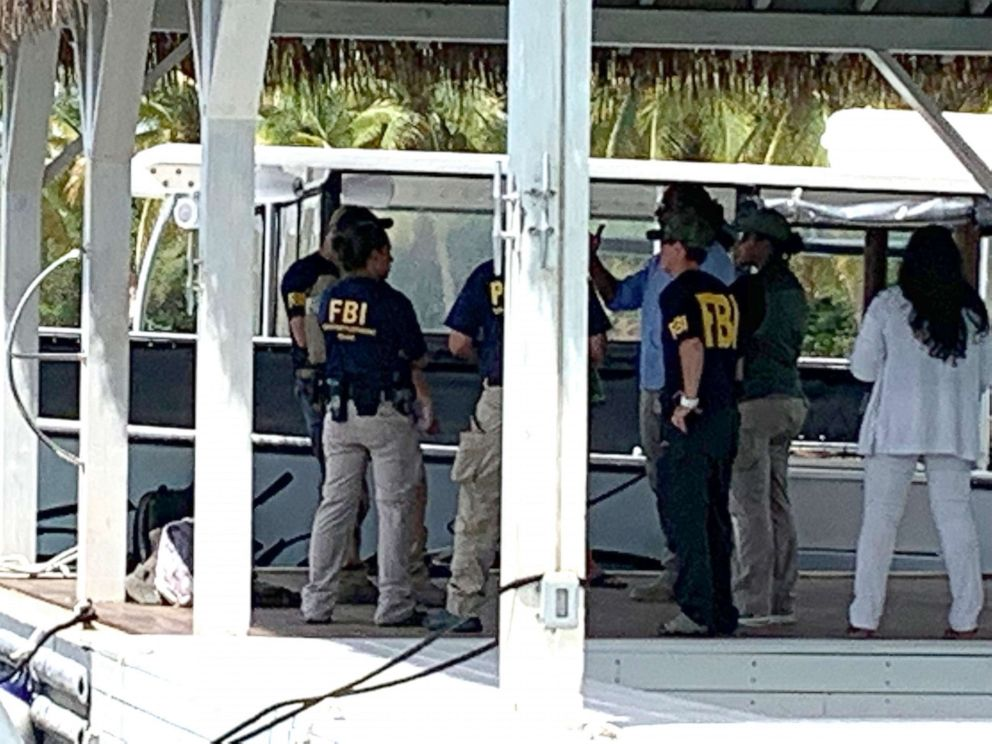 PHOTO: Federal agents, including FBI and CBP, at the dock and on the grounds of Little Saint James, Jeffrey Epsteins island home in the US Virgin Islands, Aug. 12, 2019.