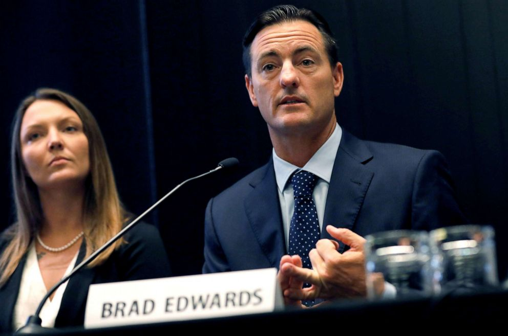 PHOTO: Courtney Wild looks on as attorney Brad Edwards speaks at a news conference regarding financier Jeffrey Epsteins sex trafficking case in New York, July 16, 2019.