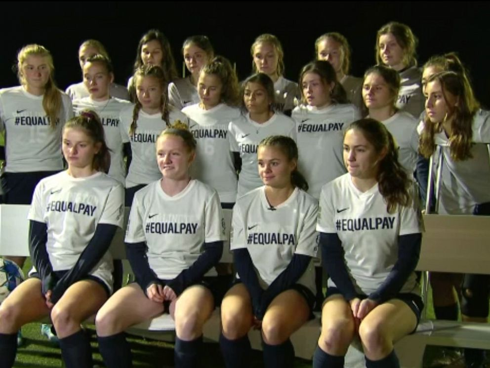 PHOTO: Players from the girls soccer team at Burlington High School in Vermont were given yellow cards for unsportsmanlike conduct after their #EqualPay jersey caused an excessive celebration on the field and in the crows.