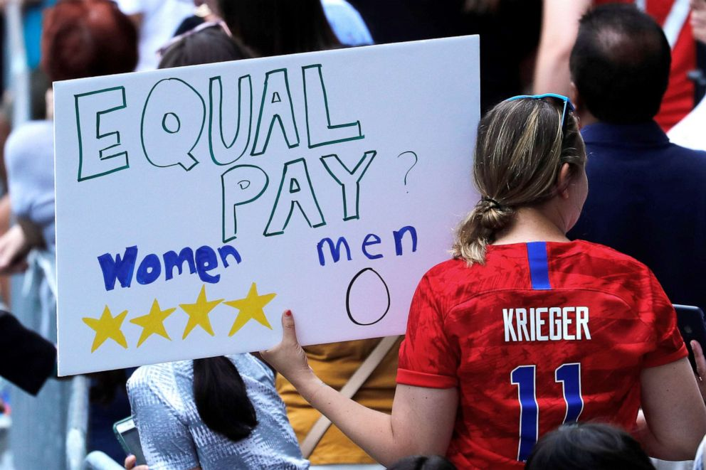 PHOTO: A fan displays a sign during the parade for the U.S. Womens National Soccer Team after their World Cup championship, July 10, 2019, in New York.