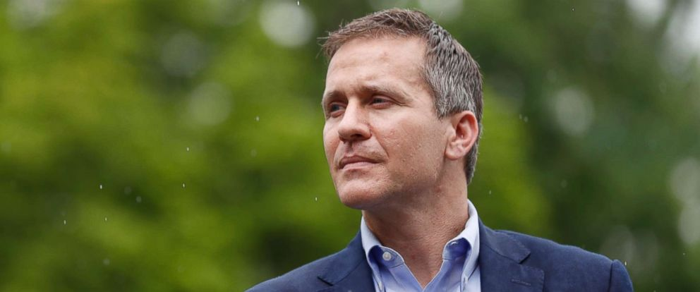 PHOTO: Missouri Gov. Eric Greitens stands off to the side before stepping up to the podium to deliver remarks to a small group of supporters announcing the release of funds for the states biodiesel program, May 17, 2018, in Jefferson City, Mo.