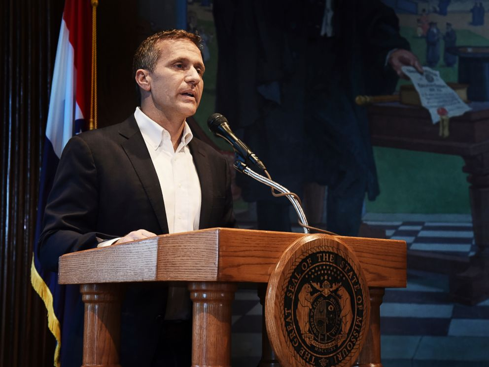 PHOTO: Missouri Gov. Eric Greitens reads from a prepared statement as he announces his resignation during a news conference, May 29, 2018, at the state Capitol, in Jefferson City, Mo.