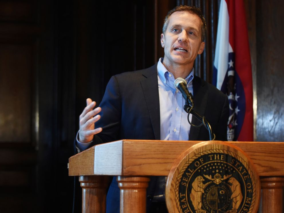 PHOTO: Missouri Gov. Eric Greitens speaks at a news conference in Jefferson City, Mo., April 11, 2018, about allegations related to an extramarital affair with his hairdresser.