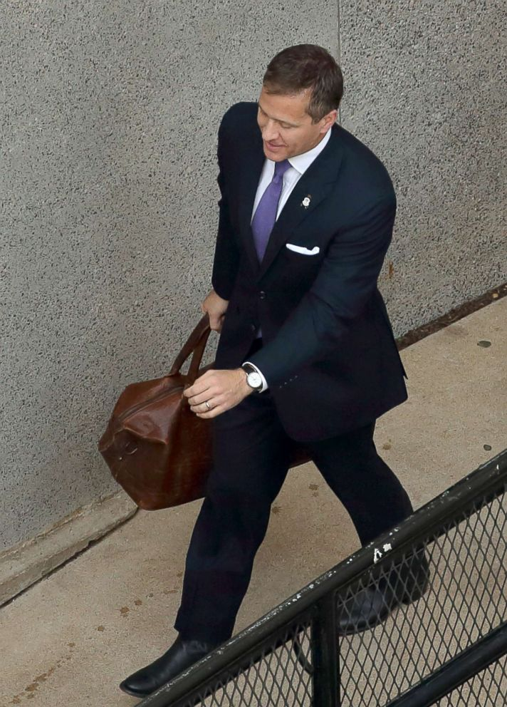 PHOTO: Missouri Gov. Eric Greitens arrives at court in St. Louis for the first day of jury selection in his felony invasion of privacy trial, May 10, 2018.