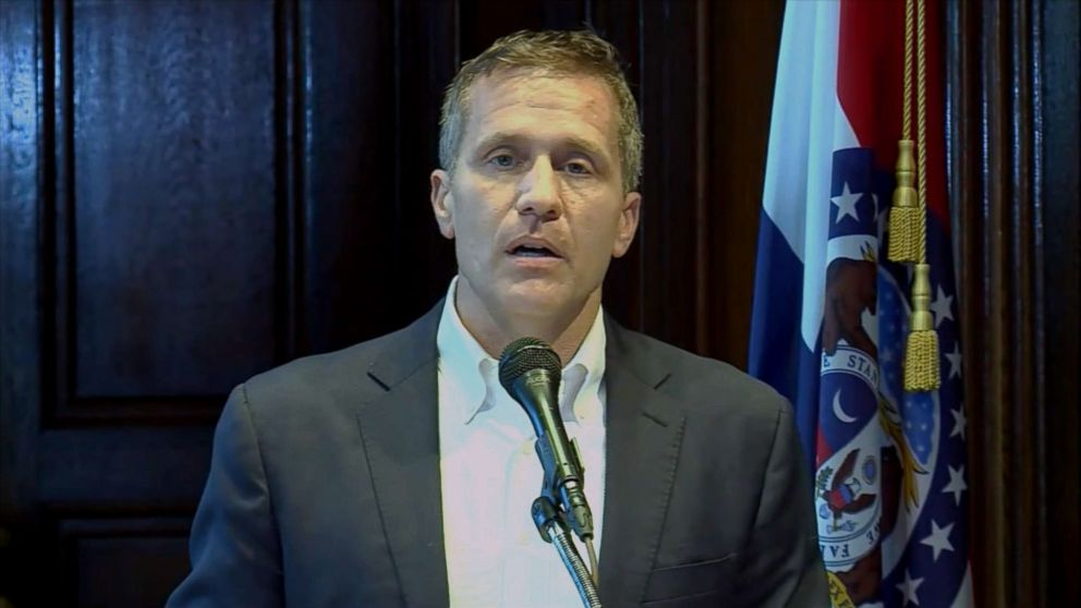 Missouri Gov. Eric Greitens announced his resignation in a press conference, May 29, 2018.