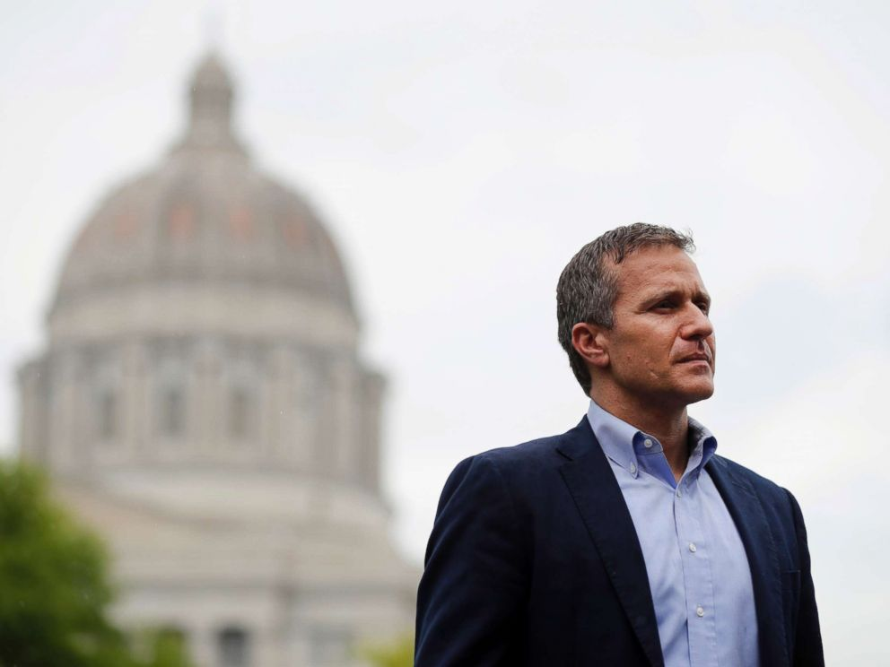 PHOTO: Missouri Gov. Eric Greitens stands off to the side before stepping up to the podium to deliver remarks to a small group of supporters near the capitol in Jefferson City, Mo., May 17, 2018, photo.