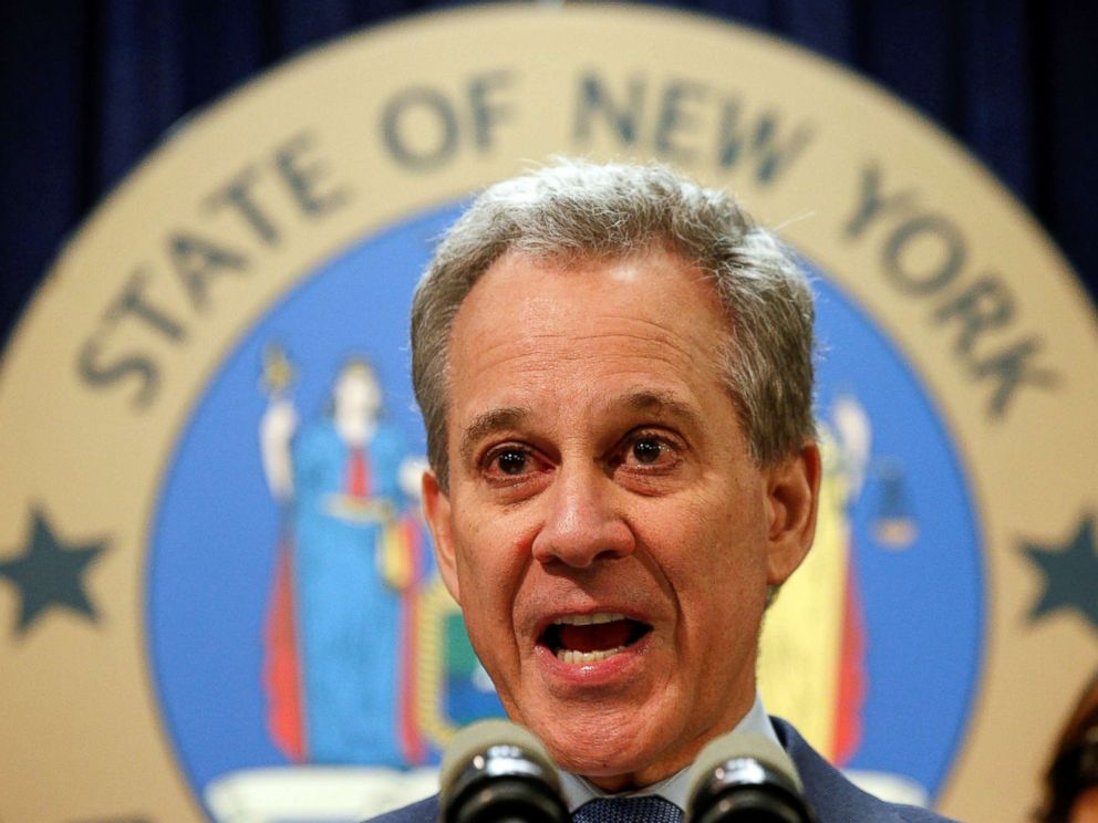 PHOTO: New York Attorney General Eric Schneiderman speaks during a news conference to discuss the civil rights lawsuit filed against The Weinstein Companies and Harvey Weinstein in New York, Feb. 12, 2018.