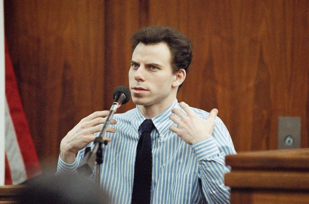 PHOTO: Erik Menendez gestures during lengthy testimony in Van Nuys courthouse in Los Angeles, Jan. 4, 1996, in this file photo. He and his brother Lyle are being retried for the 1989 murder of their parents in Beverly Hills, Calif.