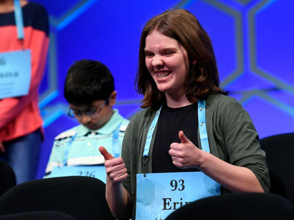 PHOTO: Erin Howard, a 14-year-old from Huntsville, Alabama, spelled erysipelas to be the second winner in the 91st annual Scripps National Spelling Bee on Thursday, May 30, 2019.