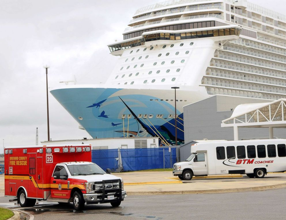 PHOTO: An ambulance departs the Norwegian Escape cruise ship during a port of call at Port Canaveral, Fla., March 5, 2019.