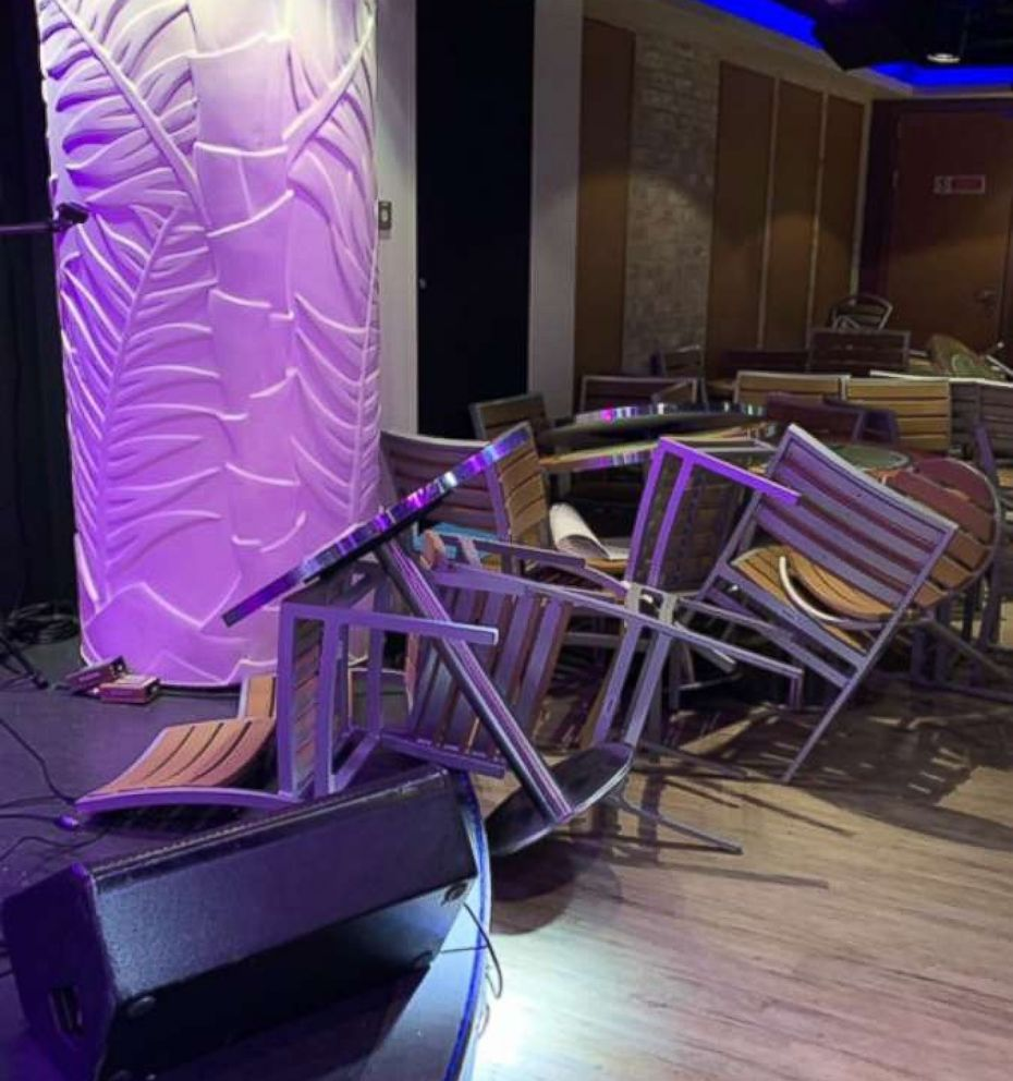 PHOTO: Damage is seen inside the Norwegian Escape cruise ship after it was hit by a wind gust, March 4, 2019.