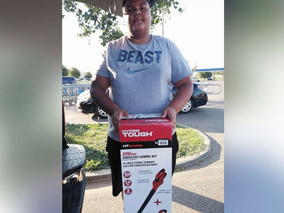 PHOTO: Estevan Aguilar began mowing lawns to help pay for his and his siblings school supplies.