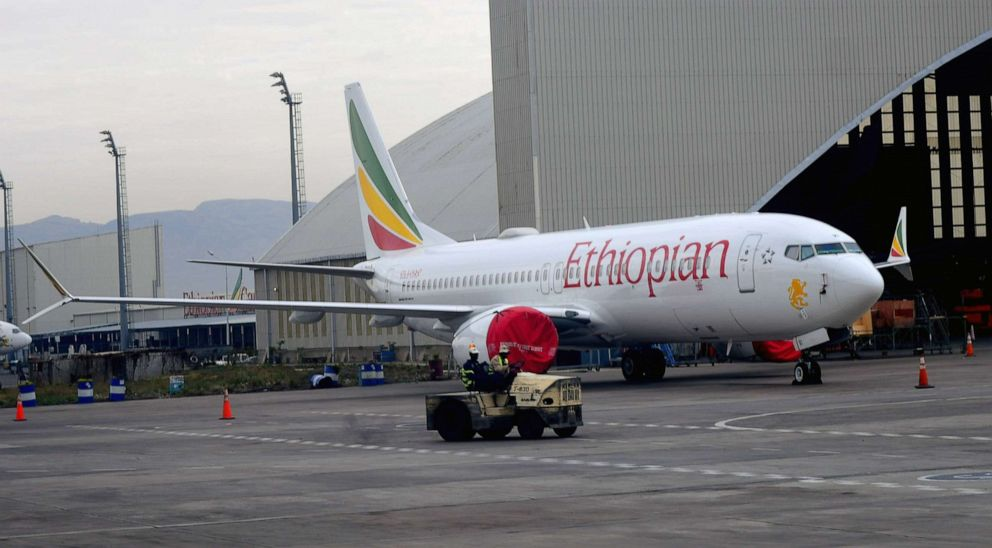 An Ethiopean Airlines Boeing 737 Max 8 parked at Bole International airport, Addis Ababa, Ethiopia, April 4, 2019.