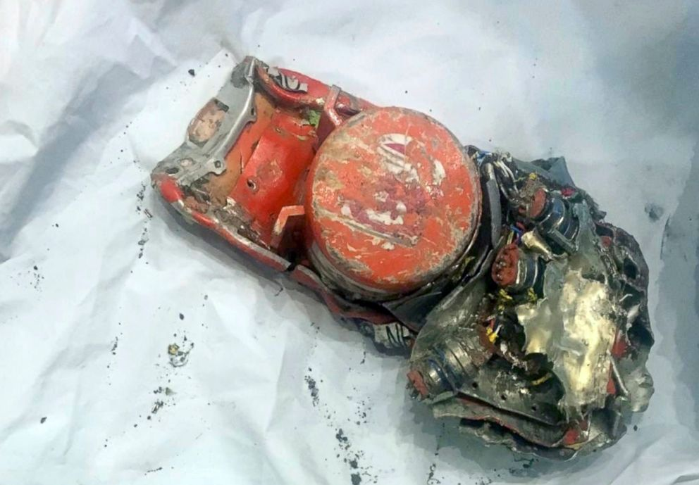 PHOTO: This photo provided by by the French air accident investigation authority BEA, March 14, 2019, shows one of the black box flight recorder from the crashed Ethiopian Airlines jet, in le Bourget, north of Paris.