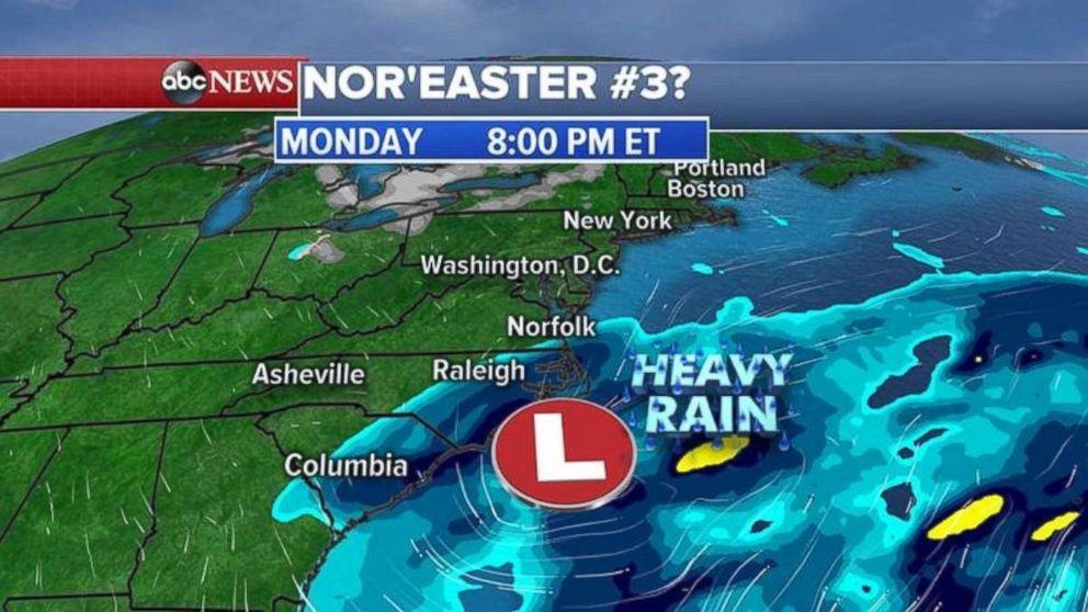 The European model shows heavy rain along the coast of the Carolinas on Monday night.