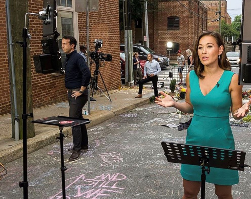 PHOTO: ABCs Eva Pilgrim reporting from Charlottesville, Va, during Unite the Right rally and protests in 2017.