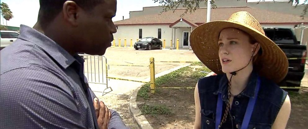 PHOTO: Actress Evan Rachel Woods speaks to ABC News about the migrant crisis in Texas, June 24, 2018.