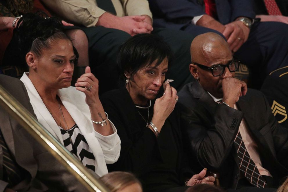 PHOTO: Elizabeth Alvarado, Evelyn Rodriguez, and Freddy Cuevas, parents of children who were murdered by MS-13, watch as President Donald Trump delivers the State of the Union address, Jan. 30, 2018, in Washington, DC.