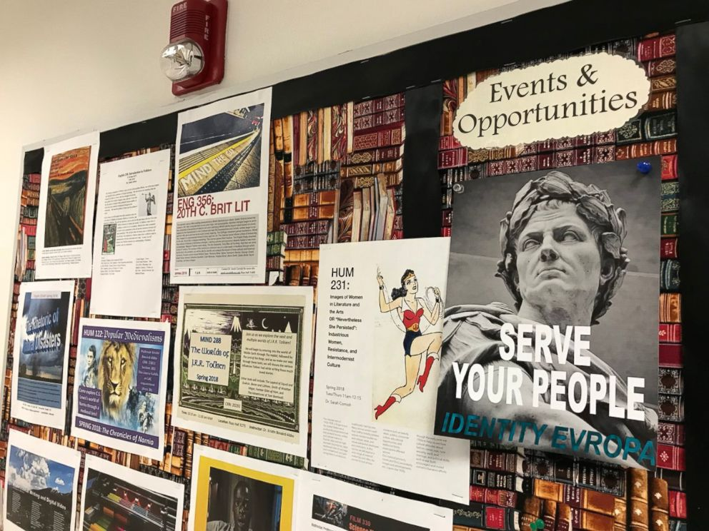 PHOTO: An IDENTITY EVROPA flier is pictured on a posting board at the University of Northern Colorado.