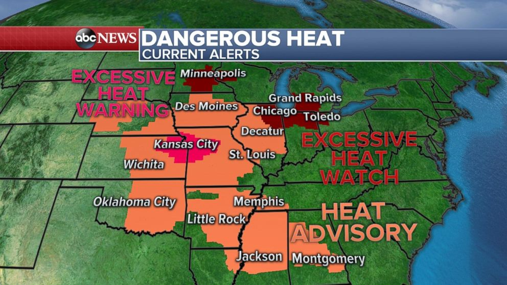 Excessive heat watches, warnings and heat advisories are in place across much of the central U.S.